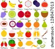 Vector of Fruit Representing Alphabet A to Z - Dictionary for Kids - Apple, banana, cherry, dragon, elderberry, fig, grape, honeydew, etc. Set of cute colorful icon collection isolated on white - stock vector