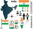 Vector of India set with detailed country shape with regions borders, flags and icons - stock photo