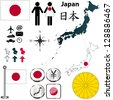 Vector of Japan set with detailed country shape with region borders, flags and icons - stock vector