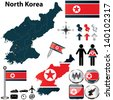 Vector of North Korea set with detailed country shape with region borders, flags and icons - stock photo