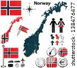 Vector of Norway set with detailed country shape with region borders, flags and icons - stock vector