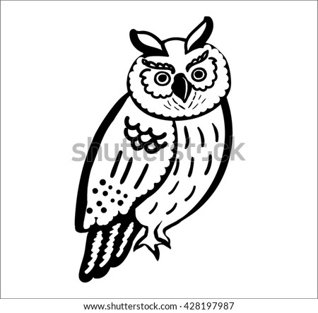 vector owl on branch3drawing white black stock vector