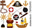 Vector of pirate theme with chest of gold, compass, map, sailing, attacking robbing equipments. A set of cute and colorful icon collection isolated on white background - stock