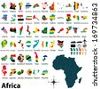 Vector of political map of Africa set with maps and flags on white background - stock vector