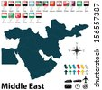 Vector of political map of Middle East set with buttons flags on white background - stock photo