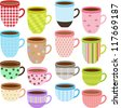 Vector of pretty Cup and Mug of tea, coffee, chocolate drink with different pattern in Pastel color. A set of cute and colorful icon collection isolated on white background - stock vector