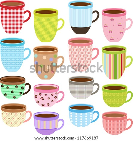 Vector of pretty Cup and Mug of tea, coffee, chocolate drink with different pattern in Pastel color. A set of cute and colorful icon collection isolated on white background