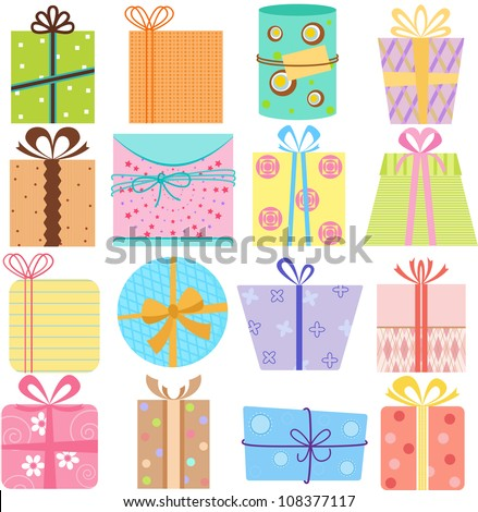 Vector simple birthday gift box present stock vector 108377096 vector of simple birthday gift box present with pretty pattern in pastel with different ribbons negle Images