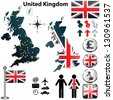 Vector of United Kingdom set with detailed country shape with region borders, flags and icons - stock photo