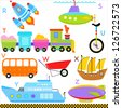 Vector of vehicle transportation Alphabet R - Z, rocket, submarine, train, unicycle, van, wheelbarrow, xebec, yacht, zeppelin, simple dictionary for Kid. Set of colorful back to school icon collection - stock vector