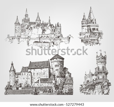Brussels Belgium Vector Sketch Old Town Stock Vector