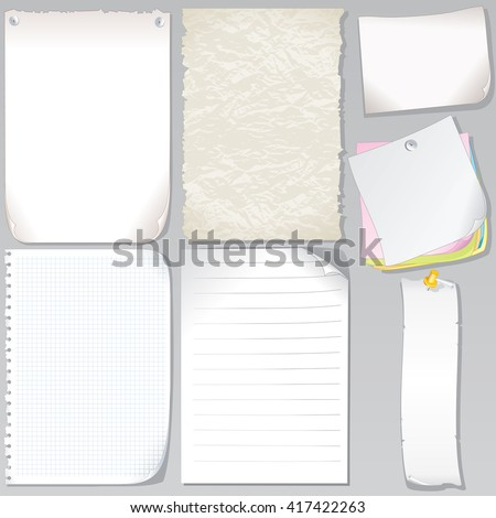 Vector Paper Sheets Set Graph Paper Stock Vector