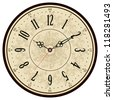 Vector old vintage clock face - stock vector