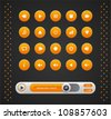 Vector orange round media player buttons and audio player isolated on background - stock photo