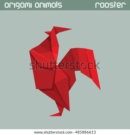 Vector origami isolated animal. Red triangle Rooster.