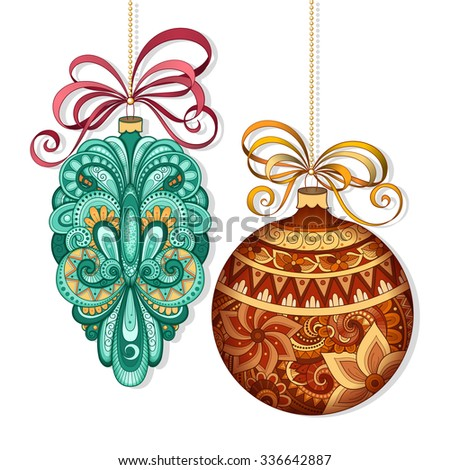 Vector Ornate Colored Christmas Decorations. Patterned Objects for Greeting  Cards, Holiday Greetings. New