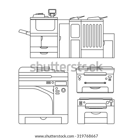 set isolated color laser printer vector stock vector 319768811