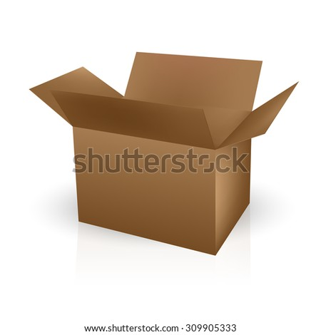 VECTOR PACKAGING: Brown open lid packaging box on isolated white background. Mock-up template ready for design.