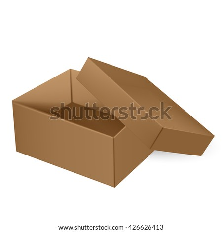 VECTOR PACKAGING: Top view of open thick brown packaging box with cover on isolated white background. Mock-up template ready for design.