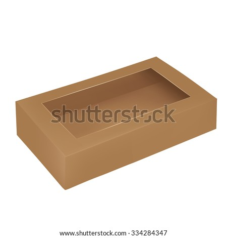 VECTOR PACKAGING: Top view of rectangular, brown packaging box with top window on isolated white background. Mock-up template ready for design.