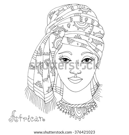 Stylized Ancient Queen Cleopatra Or Nefertiti Stock Vector 458065603