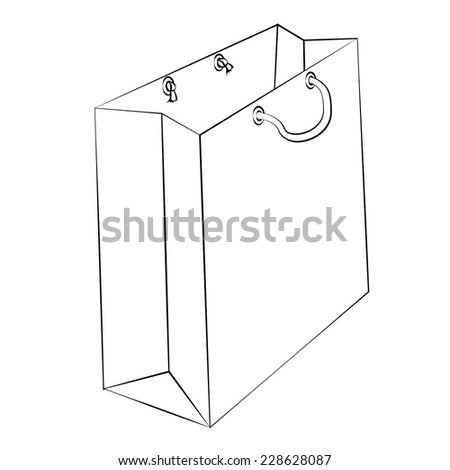 Vector paper bag to reduce global warming is isolated on a white background.