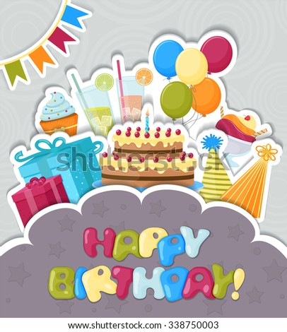 Vector paper Birthday greeting card with different Birthday stuff and place for text