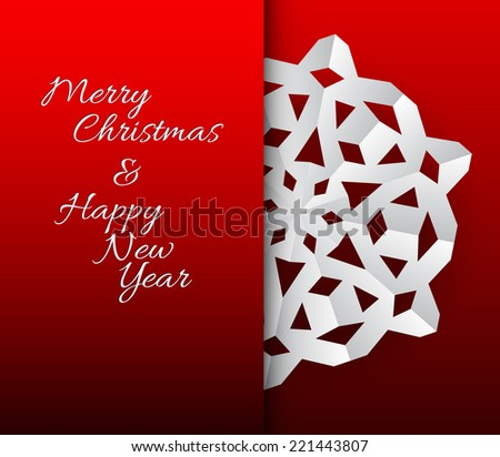 Vector paper christmas snowflake on a red background