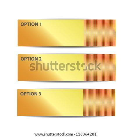 ... or versions. metallic background. orange glossy metallic banner set
