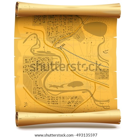 Vector Paper Scroll with Map