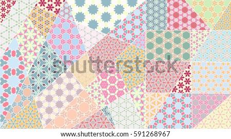 Vector Patchwork Quilt Pattern Vintage Decorative Stock Vector ... : indian quilt pattern - Adamdwight.com