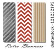 vector pattern background swatches or side bar banners for web template or brochure with vintage grunge background texture layout, zig zag pattern background, chevron retro lines, diagonal monochrome - stock vector
