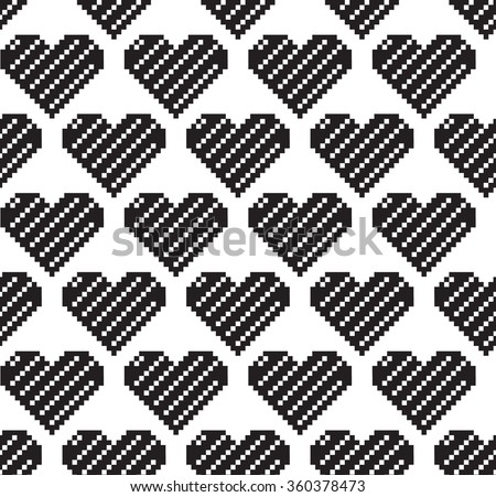 vector pattern in pixel hearts on Valentine's Day