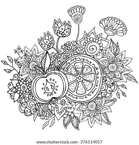Vector Pattern With Abstract Flowers Orange And Apple Coloring Book Page For Adult