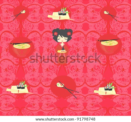 Cute sushi cartoon illustration - vector card