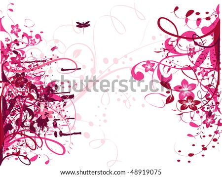 Vector pink floral wallpaper