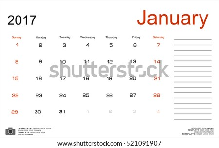 Vector planning calendar January 2017 Monthly scheduler. Week starts on Sunday.