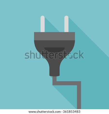 Vector plug icon, flat design with long shadow