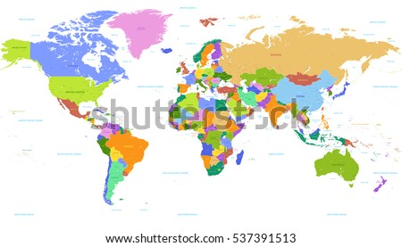Vector Political World map With countries highlighted with bright colors, complete with Countries, Capitals, Seas and Lakes names