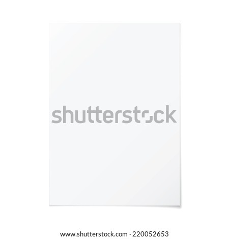 Vector portrait orientation empty A4 white paper with shadow