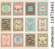 Vector postage stamps set. Birthday collection - stock vector