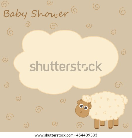 Vector postcard frame on the theme of the baby shower. Little lamb, there's space for photo or text.