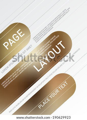 Vector poster design. Rounded stripes with blurry smooth bokeh background. Page layout template.