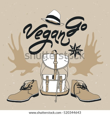 "Vector poster ""Go Vegan"" with hat, star, boots, backpack, horns"