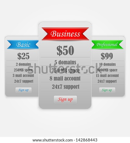 Vector Price Table Templates. Vector Illustration