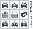 Vector print, printer icons set - stock vector