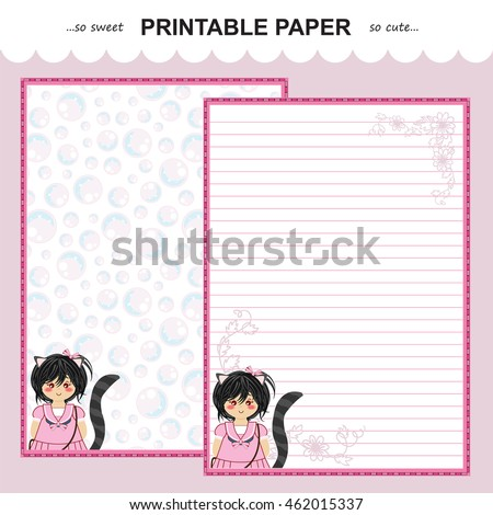 Vector Printable Letter Paper Stationery. Flat Cartoon Style. Kawaii Manga  Anime Girl, Doodle  Printable Letter Paper With Lines