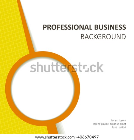 vector professional orange business background with text and round photo space
