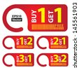 Vector : Promotional Sale Labels Set, Present By Red Sale Tag With Buy 1 Get 1 Free, Buy 1 Get 2 Free, Buy 2 Get 1 Free, Buy 3 Get 1 Free and Buy 3 Get 2 Free Isolated on White Background  - stock vector