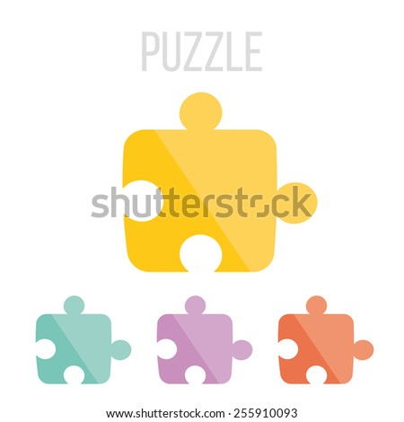 Vector puzzle icons set. Isolated on white background.